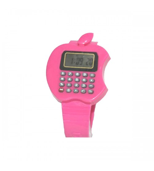 Apple Shape Digital Watch With Calculator, Kids Fashion Watch, Pink Color