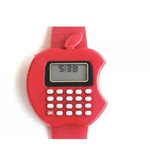 Apple Shape Digital Watch With Calculator, Kids Fashion Watch, Red Color