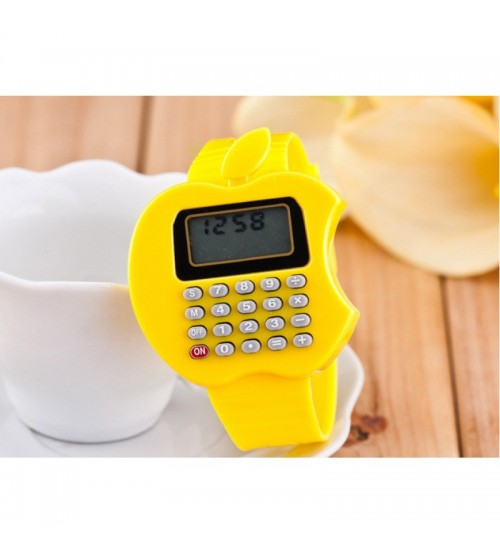 Apple Shape Digital Watch With Calculator, Kids Fashion Watch, Yellow Color