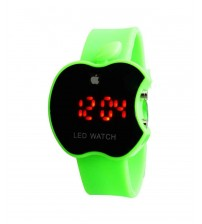 Apple Shape Digital LED Watch with Apple Logo, Kid Watch, Battery Operated, Green Color