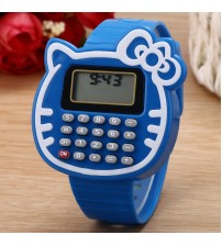 Cat Shape Digital Watch with Calculator, Kids Fashion Watch, Sports Watch, Blue Color