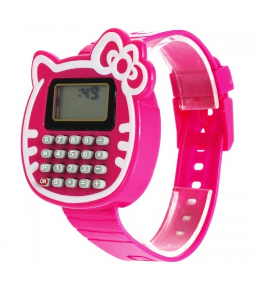 Cat Shape Digital Watch with Calculator, Kids Fashion Watch, Sports Watch, Pink Color