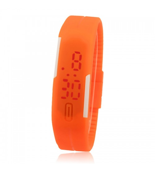 Wrist Band Style LED Watch, Bracelet Digital Watch for Kids, Orange Color