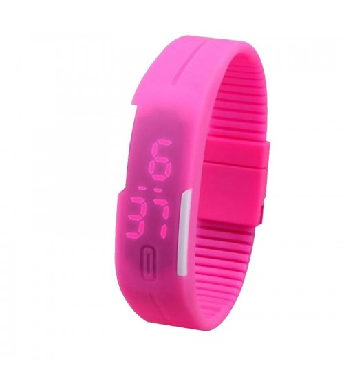 Wrist Band Style LED Watch, Bracelet Digital Watch for Kids, Pink Color