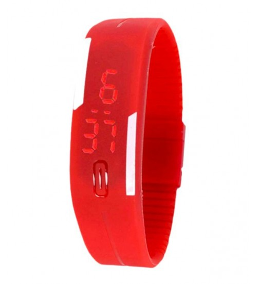 Wrist Band Style LED Watch, Bracelet Digital Watch for Kids, Red Color