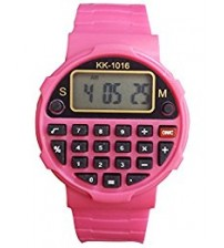 Kids Sports Watch with Calculator, Fashion Wrist Watch, Digital Watch, KK-1016, Pink Color