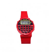 Kids Sports Watch with Calculator, Fashion Wrist Watch, Digital Watch, KK-1016, Red Color
