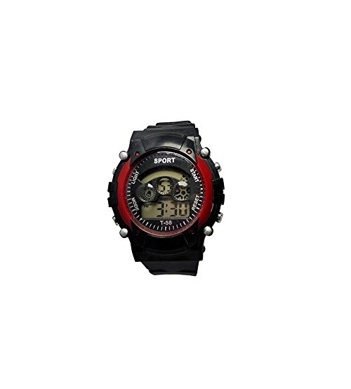 Kids Sports Watch, Stylish Wrist Watch, Digital Watch, T-58, Black and Red Color