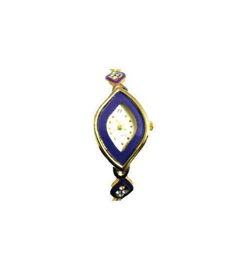 Diamond Shape Ladies Wrist Watch, Analog Quartz Watch, American Diamond Crafted Chain, Gold and Blue Color
