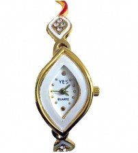 Diamond Shape Ladies Wrist Watch, Analog Quartz Watch, American Diamond Crafted Chain, Gold and White Color