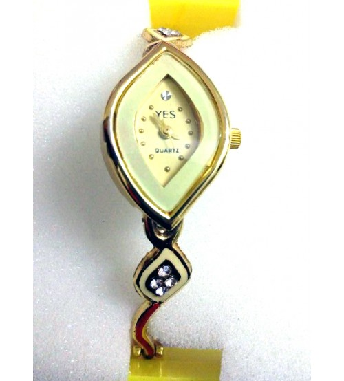 Diamond Shape Ladies Wrist Watch, Analog Quartz Watch, American Diamond Crafted Chain, Gold and Yellow Color