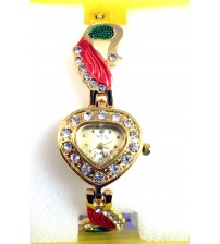Heart Shape Ladies Wrist Watch, Analog Quartz Watch, Peacock Design American Diamond Chain, Gold multi Color