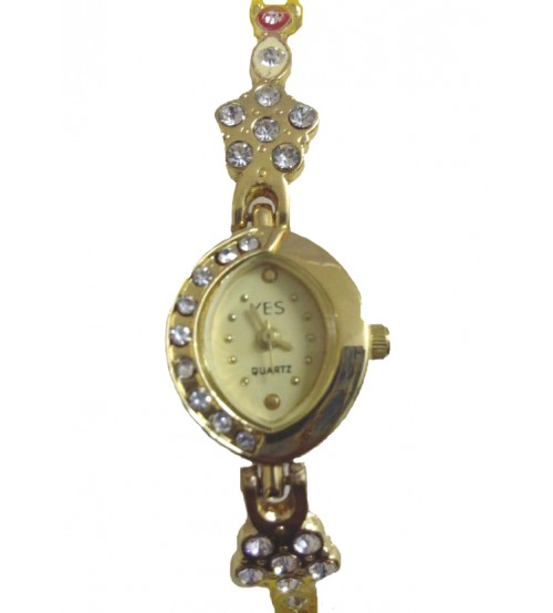 Round Shape Designer Dial Ladies Wrist Watch, Analog Quartz Watch, American Diamond Crafted Chain, Gold and Yellow Color
