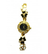 Round Flower Shape Designer Dial Ladies Wrist Watch, Analog Quartz Watch, American Diamond Crafted Chain, Gold and Black Color