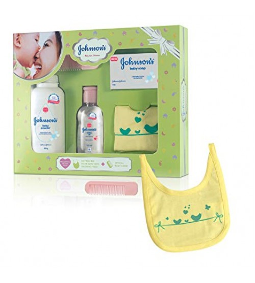 Johnson & Johnson Baby Care Collection - with Organic Cotton Bib & Baby Comb, 5 pcs