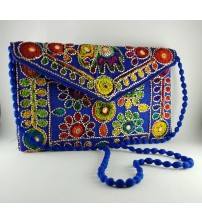 BLUE DESIGNER EMBRIODERED CLUTCH