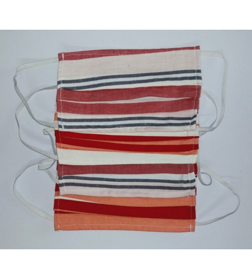 Protective Cotton Face Mask, Stripes Multi Color, Washable, 3Ply (Pack of 10)