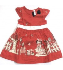 Sleeveless Cotton Printed Frock For Baby Girl, Children Wear, Color: Red and White,100% Cotton, Age 2 To 3 Years