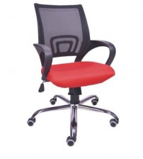Medium Back Revolving Office Executive Chair, With Tilt Mechanism, Height Adjustment, Color Black & Red, Chrome Base, Fixed Arm, Ergonomic, Warranty- 12 Months