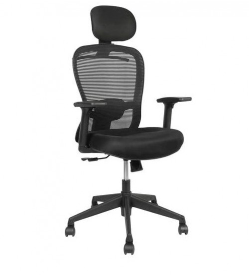 High Back Revolving Office Executive Chair With Tilt Mechanism, Height Adjustment, Black Color Fabric & Mesh, Chrome Base, Adjustable Arm, Ergonomic, Warranty- 12 Months