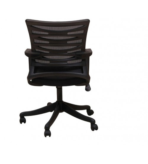 Medium Back Revolving Office Executive Chair With Tilt Mechanism, Height Adjustment, Black Color Fabric & Mesh, Nylon Base, Fixed Arm, Ergonomic, Warranty: 12 Months