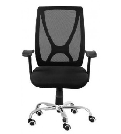 Medium Back Revolving Office Executive Chair With Tilt Mechanism, Height Adjustment, Black Color Fabric & Mesh, Chrome Base, Fixed Arm, Ergonomic, Warranty: 12 Months