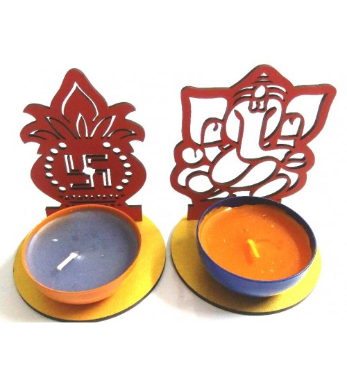 Decorative Ganesha Diya Stand, Deepawali Product, Decorative Product, Art Decor, Festival Product, Made of MDF, CNC cutting, Set of 4