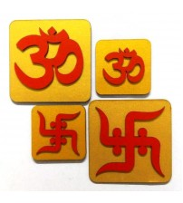 Decorative OM and Shubhlabh, Deepawali Product, Decorative Product, Art Decor, Festival Product, Made of MDF,CNC cutting, Set of 4
