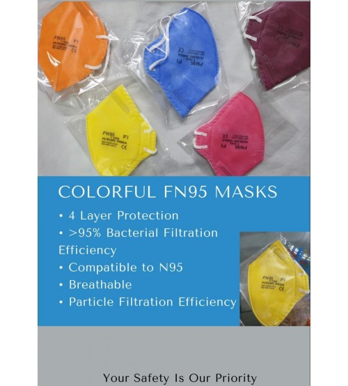 FN95 Face Mask, 4 Layer Protection, 95% Bacterial Filtration Efficiency, Lab Approved, Multi Color, Made In India