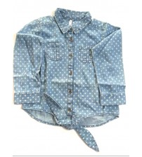 Full Sleeve Denim Cotton Shirts, Dresses, Children Wear, Kids Girls Wear, Color Light Blue, 100% Cotton, Age 7 To 8 Years