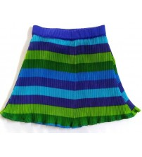 Mini Skirt For Girl Kids, Accordian Polyester, Pleated Striped, Cape Dress Skirt, Mix Color Blue & Green, Horizontal Striped Design, Children Wear, 100% Polyester, Ages: (2 To 3 Years), (4 To 5 Years}