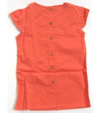 Girl Plain Sleeveless Cotton Frock, Dress For Girl Kids, Children Wear, Color: Orange-Red, 100% Cotton, Ages: (3 To 4 Years), (4 To 5 Years), (5 To 6 Years), (6 To 7 Years).