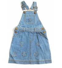 Denim Pinafore Dress, Children Wear, Kids Girls Wear, Color Sky Blue, 100% Cotton, Age 5 To 6 years