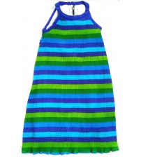 Summer Casual For Girls, Kids, Polyester Plain Pleated Vest Design Dress, Accordian Polyester, Pleated Striped, Cape Dress Skirt, Mix Color Blue and Green, Horizontal Striped Design, 100% Polyester, Ages: (7 To 8 Years), (9 To 10 Years), (11 To 12 Years)