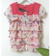 Half Sleeve Blouse, Printed Design, Summer Casual For Girl, Kids, Color Pink, Ivory, Designer Children Wear, 100% Polyester, Ages: 2 To 3 Years, 3 To 4 Years, 6 To 7  Years