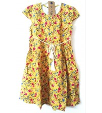 Half Sleeve Printed Frock, Half Sleeve Dress, Girl Kids, Children Wear, Color Yellow, 100% Rayon, Age 6 To 7 years.