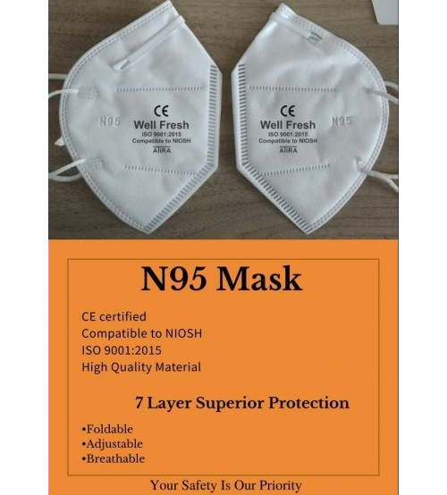 N95 Mask, 7 Layer Superior Protective Disposable Fold-able Face Mask, White Color, CE-Certified, ISO9001:2015, Made In India