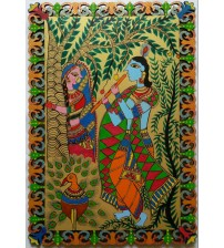 Madhubani Painting Depicting Krishna Playing Flute For Radha, Hand Painting, Modern Art, Vertical Mounting