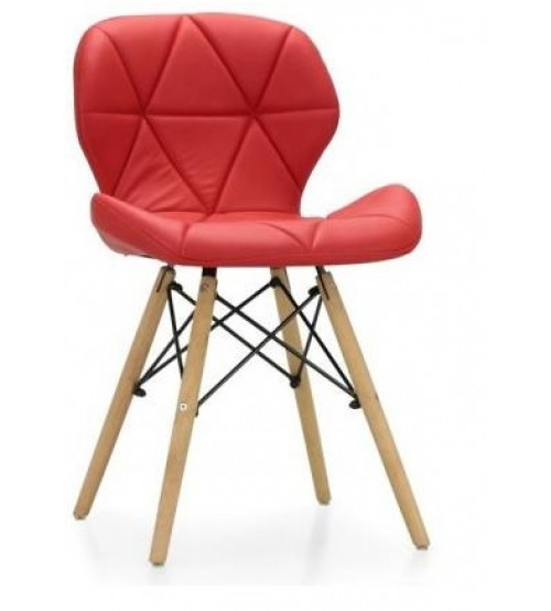 Leatherette, Cafeteria Designer Chair in Wooden & Metal Frame, Without Arm, Color Red, Warranty: 12 Months