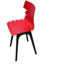 Designer Cafeteria Chair in Molded PP, Without Arm, Color Red, Warranty: 12 Months