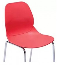 Cafeteria Chair in Molded PVC, PVC Chair, Without Arm, Frame SS204, Color Blue, Red, Yellow, Warranty: 12 Months
