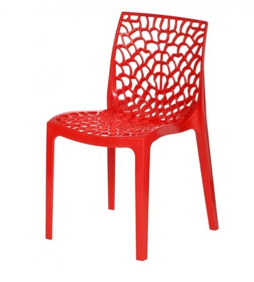 Cafetaria Chair, Molded PVC, Web Design, PVC Chair, Without Arm, Frame Molded With Chair, Color: Blue, Red, Yellow, White, Orange, Warranty: 12 Months