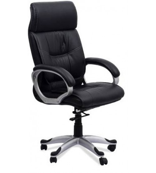 High Back Leatherette Revolving Executive Chair, Office Chair, With Tilt Mechanism, Height Adjustment, Color Brown, Nylon Base, Fixed Arm