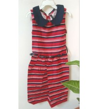 Sleeveless Horizontal Striped, Cotton Midi Dress, For Kids Girls, Children Wear, Mix Color Navy Blue, White, Red,100% Cotton, Ages: {5 To 6 Yrs}, {7 To 8 Yrs}, {9 To 10 Yrs}